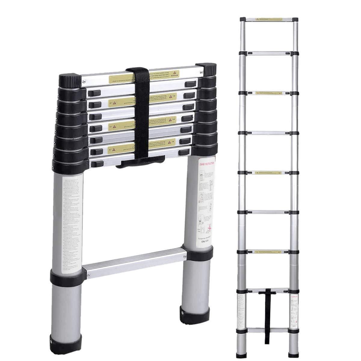 Soges 8.5ft Aluminum Telescopic Extension Ladder,Extendable Telescoping Ladder with Spring Loaded Locking Mechanism Non-Slip Ribbing 330 Pound Capacity EN131 Certified, KS-JF-002