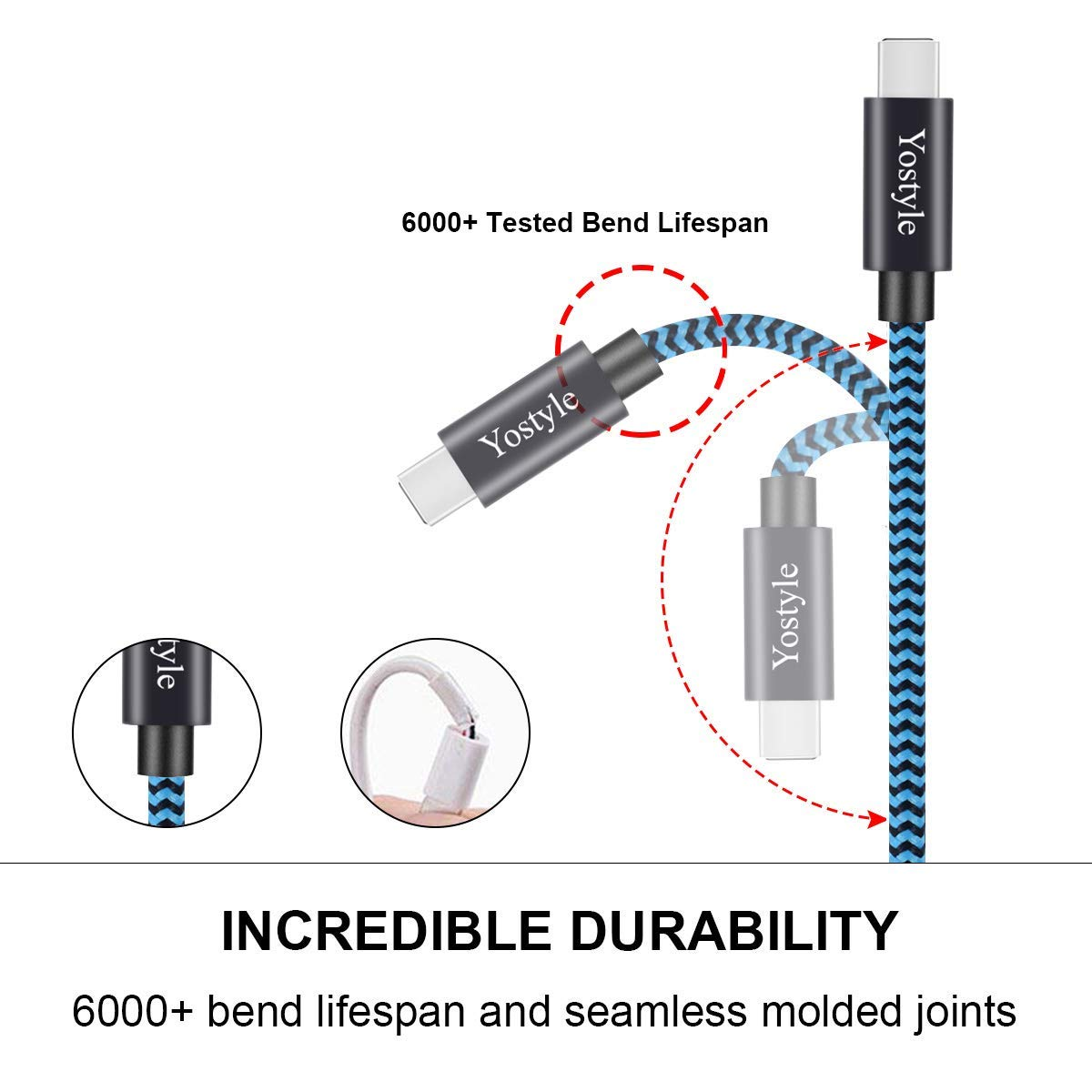 USB-C Cable, Type C Fast Charge High Speed Sync Nylon Braided Cable for Samsung Galaxy S9/S8+, Note 8, Nintendo Switch, Sony Xperia XZ, Google Pixel, HTC 10/U11, OnePlus 5T, Huawei P9 [2 Pack/2M]