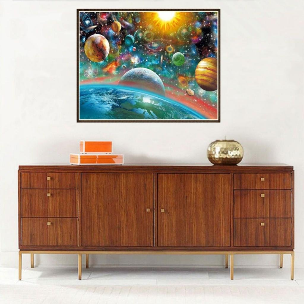 Full Drill Outer Space DIY Diamond Painting Embroidery Cross Stitch Kit Home Decoration 30x25cm 1#