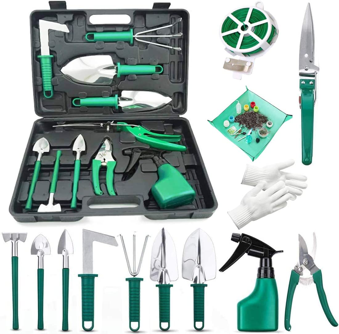 WJCGX Gardening Tools Set, 13 Pieces Stainless Steel Garden Hand Tools Kit with Storage Case, Gardening Shovel Rake Equipment Tools Kits Suitable for Garden Lovers