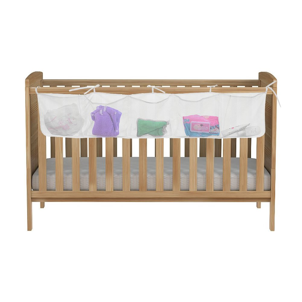 Angla Baby Bed Room Nursery Hanging Organizer Caddy Side of Crib Storage Tidy Bag Mesh 4 Pockets Diaper Containers