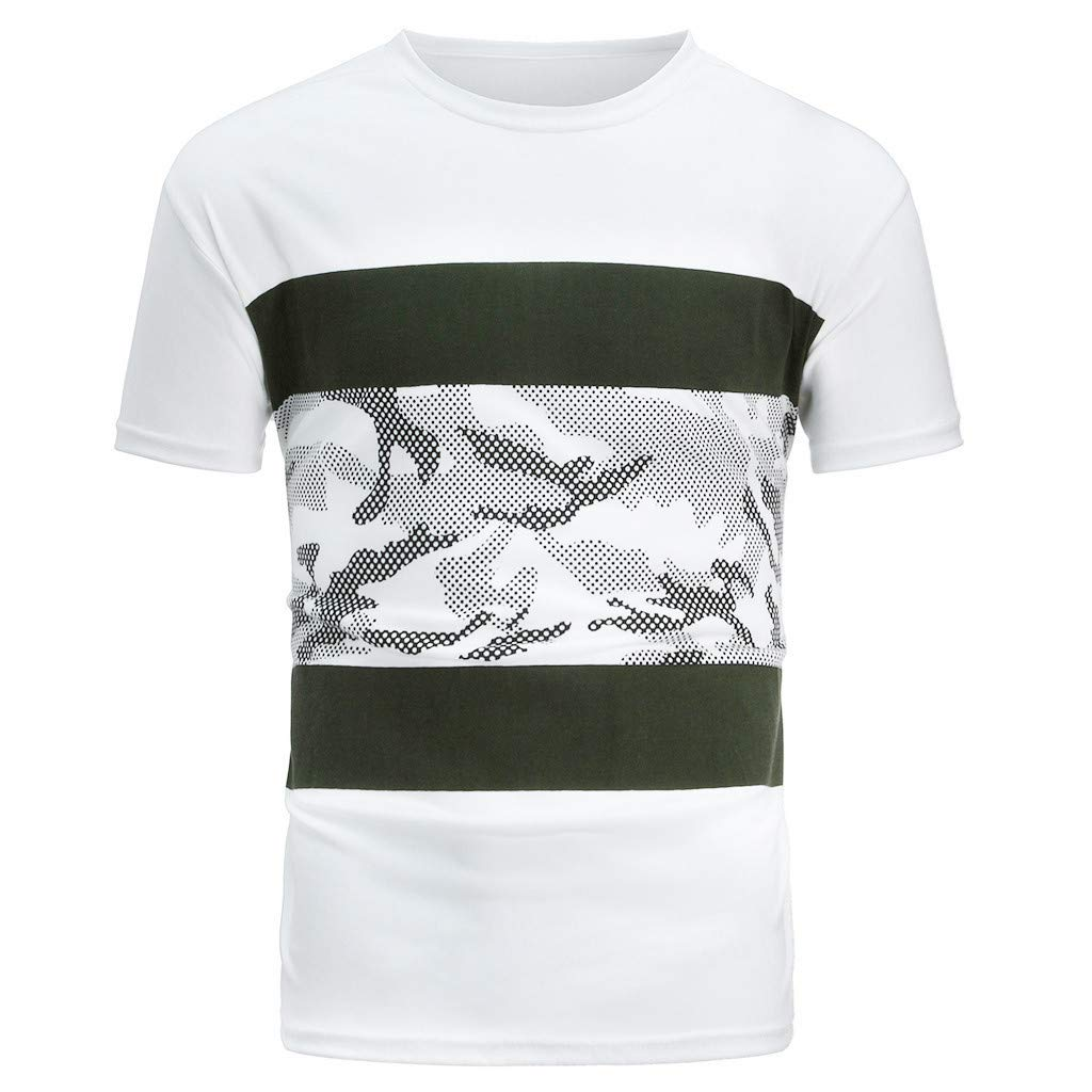 Army Green,XXL Mens Summer Casual Tops Printing Patchwork Blouse Elastic Short Sleeve T-Shirt Tops Tee