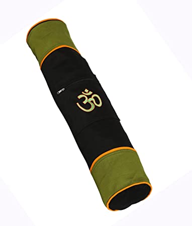 1d5f25d77a Ryan Overseas Cotton Yoga Mat bag With Om Embroidery- Black and Green   Amazon.in  Sports