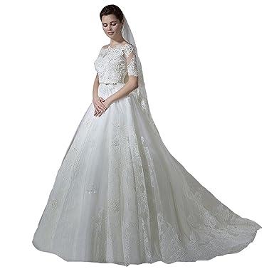 670add55c46 Irenwedding Women s Bateau Half Sleeves Lace Applique Button Tired Wedding  Dress White US2