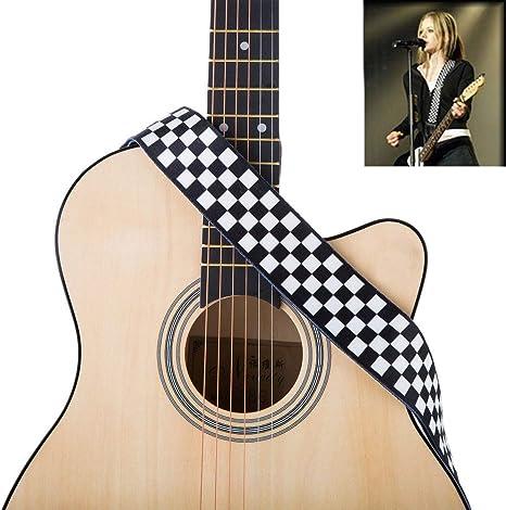 Jinlop - Correa para guitarra, diseño de cuadros, color blanco y negro, para guitarra acústica/eléctrica y bajo, 5 cm de ancho: Amazon.es: Instrumentos musicales