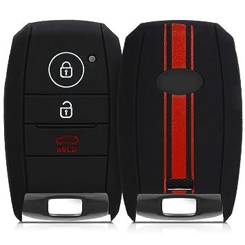 kwmobile Funda para Llave Smartkey de 3 Botones para Coche Kia - Carcasa Protectora [Suave] de [Silicona] - Case de Mando de Auto con diseño de Rally