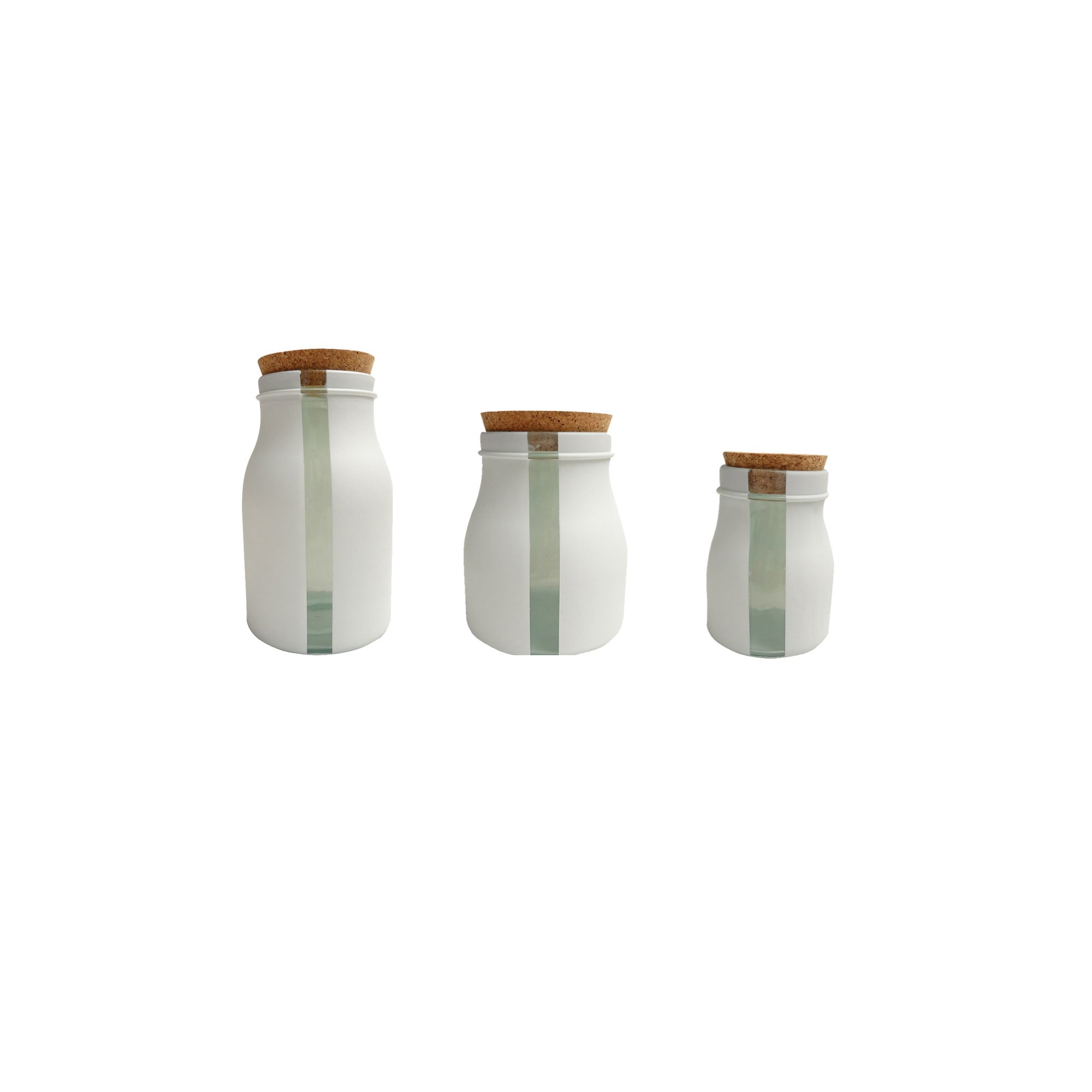 French Home Set of 3, 68-ounce,40-ounce,8.5-ounce White Vertical Window Jars