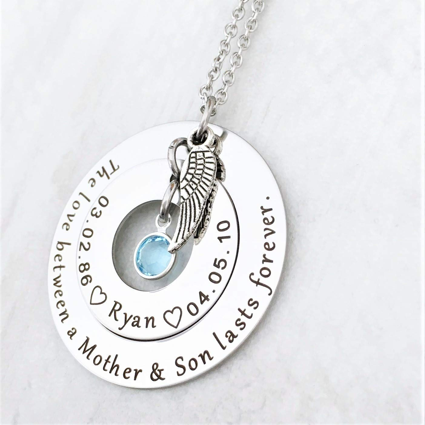 9d894da78fa95 Loss of a Son Memorial Necklace for Mom - The love between a Mother & Son  lasts Forever