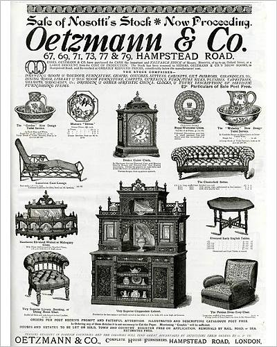 Cane Settee - 10x8 Print of Advert for Oetzmann a Co. Victorian furniture 1885 (14404340)