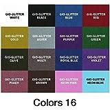 "GIO-Glitter Heat Transfer Vinyl 10"" x 12"" - 16 Sheets HTV Assorted Colors Bundle/Variety Pack, Adhesive Vinyl, Iron-On Transfer, Heat Press, DIY Design for T-Shirts"