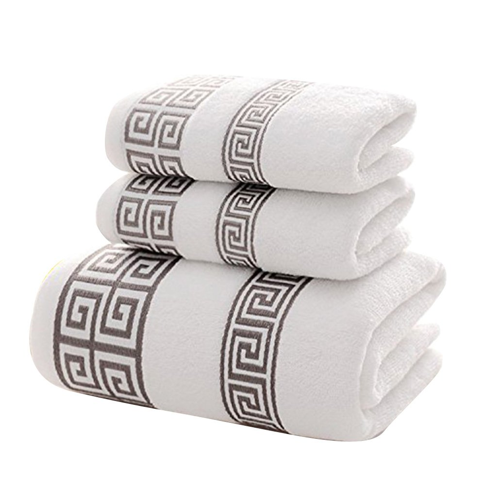 XHSP 100% Cotton Highly Absorbent Embroidered Towels 3-Piece Towel Set Hotel Bath Towel, 1 Bath Towels, 2 Hand Towels Extra Thick Beach Bath Towel (White)