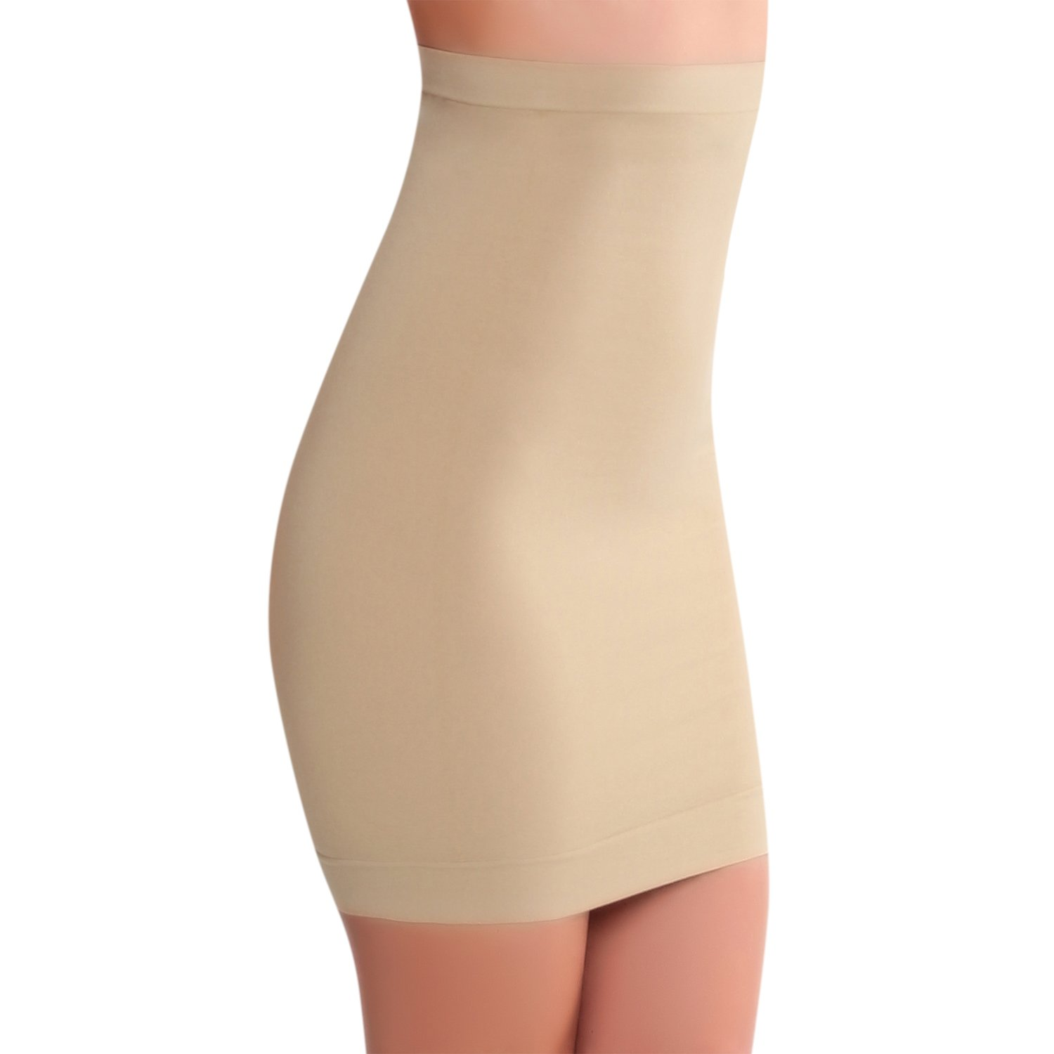 Smart Fit Me Women High Waisted Half Slip For Under Dresses (Nude, M)