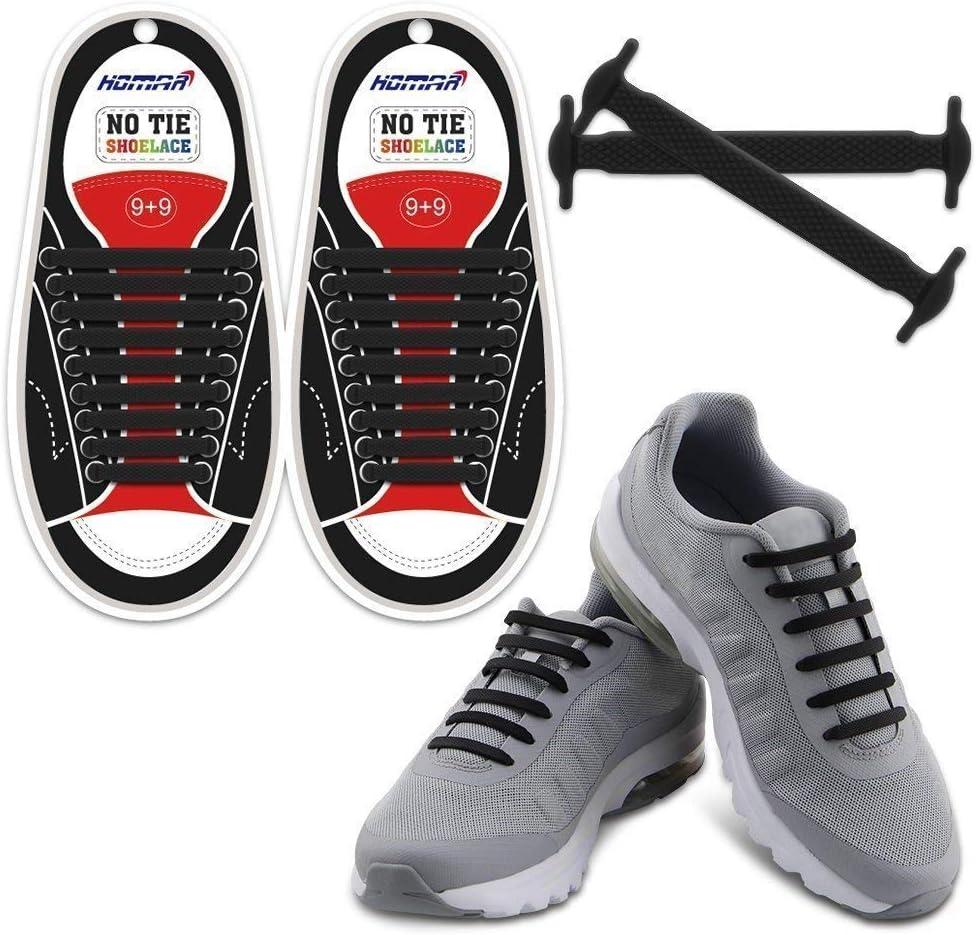 Nie mehr Schuhe binden EazyShoelaces Elastische Schn/ürsenkel Die runden stylischen Schn/ürsenkel mit Metal Lock-System