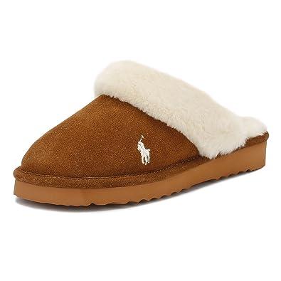 ce993839b81 Ralph Lauren Womens Snuff Tan Cream Charlotte Slippers-UK 3  Amazon ...