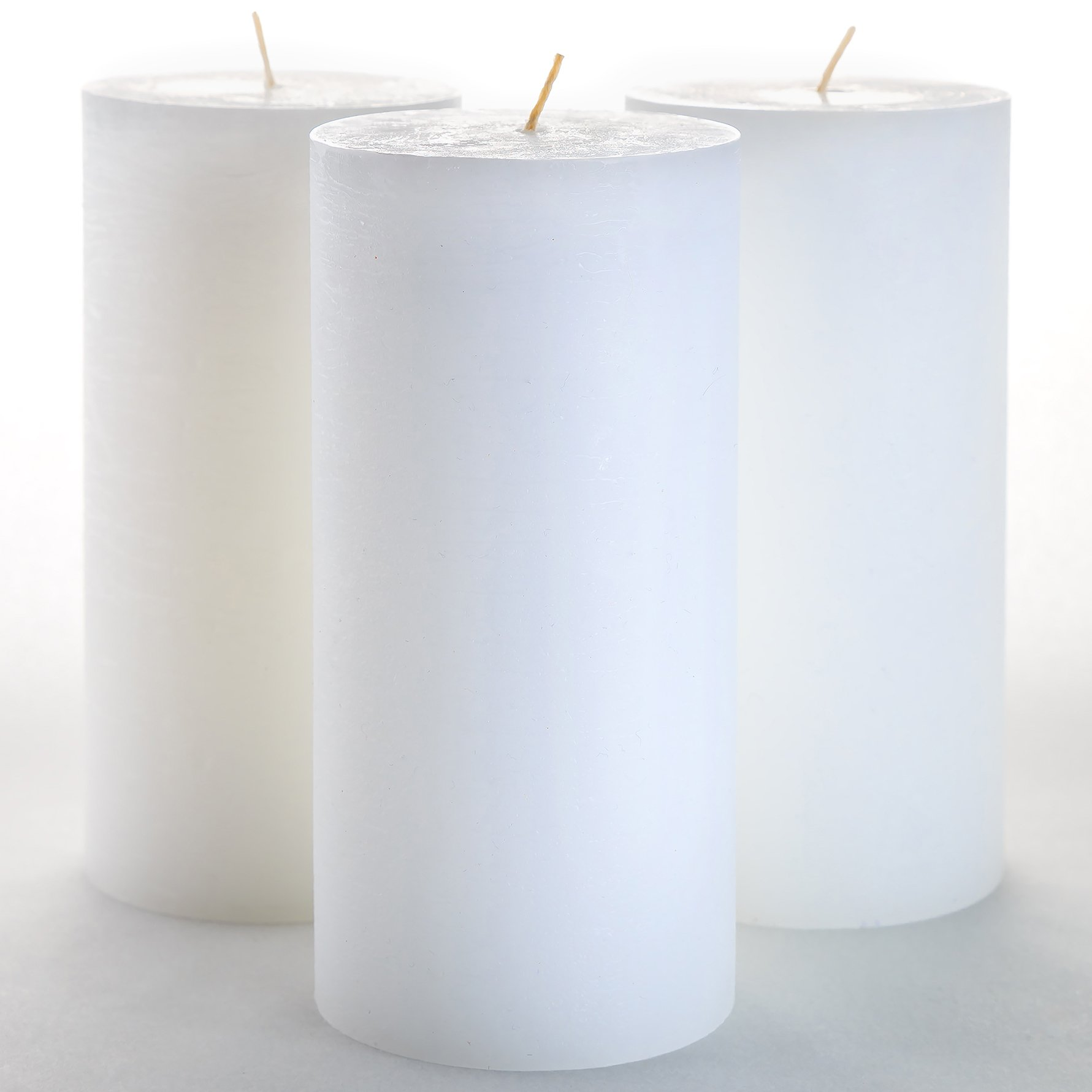 3'' x 6'' White Pillar Candles Set of 3 Unscented for Wedding Church Restaurants Spa Smokeless Cotton Wick by Melt Candle Company