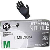 Ultra Feel Black Nitrile Powder Free Latex Free Disposable Gloves 3.5 Gram (Small)