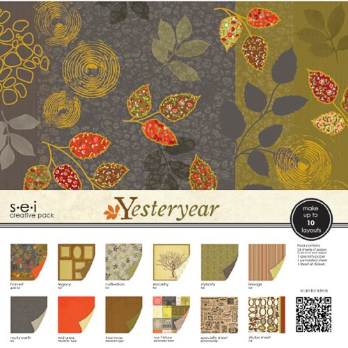 Sew Easy Industries 24-Sheet Paper and Die Cut Assortment Pack, 12 by 12-Inch, Yesteryear by Sew Easy Industries