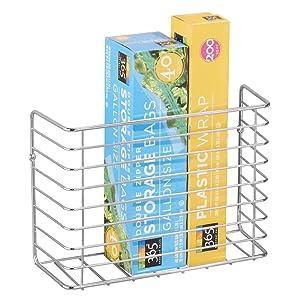 mDesign Farmhouse Metal Wire Wall & Cabinet Door Mount Kitchen Storage Organizer Basket Rack - Mount to Walls and Cabinet Doors in Kitchen, Pantry, and Under Sink - Chrome