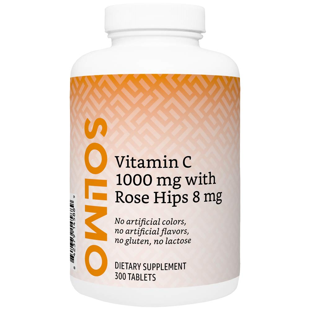 Amazon Brand - Solimo Vitamin C 1000 mg with Rose Hips 8 mg, 300 Tablets, Ten Month Supply