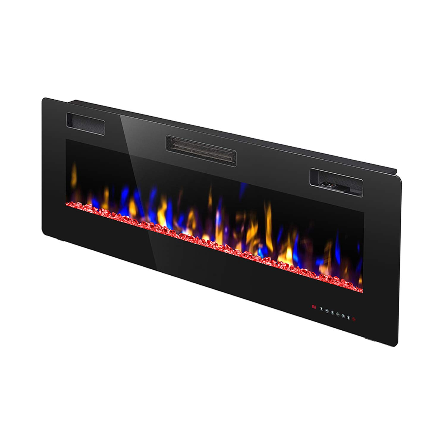 R.W.FLAME 42 Electric Fireplace, Fully Recessed Wall Mounted and in-Wall Fireplace Heater, Remote Control with Timer, Touch Screen, Adjustable Flame Colors and Speed, 750 1500W