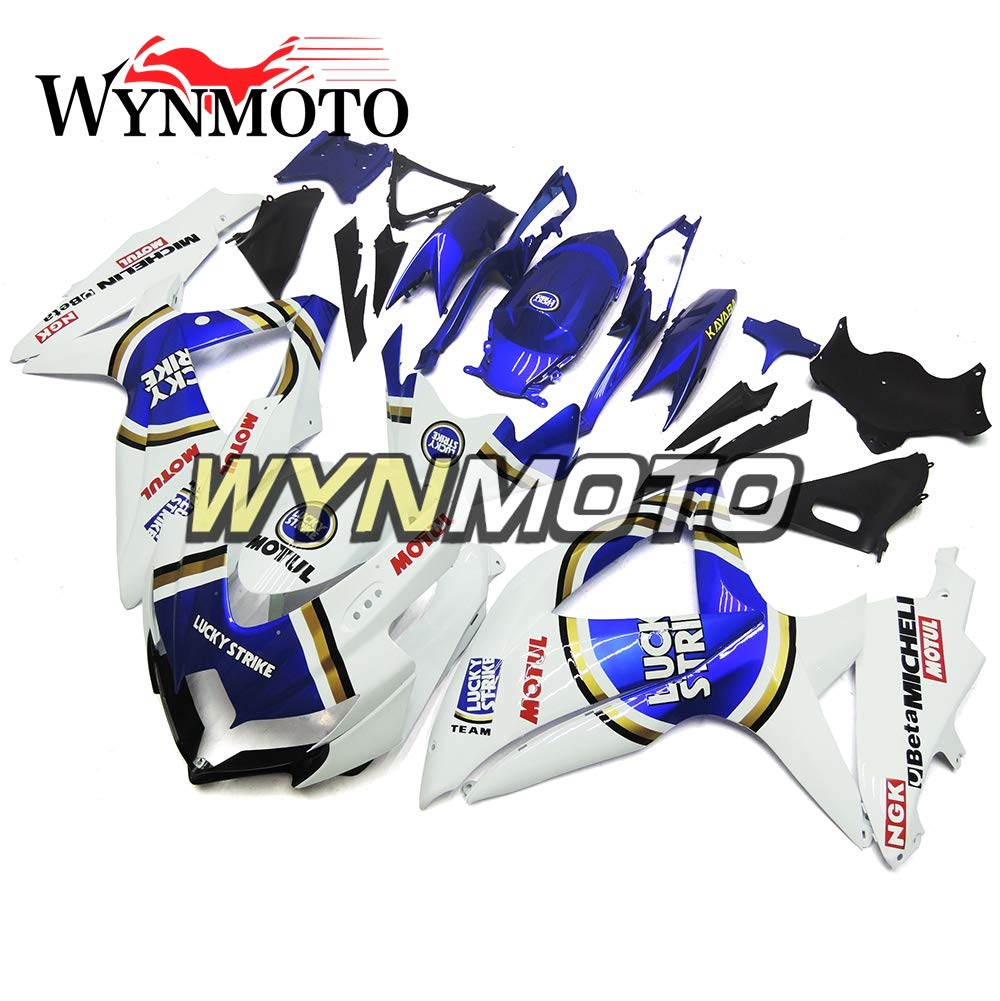 WYNMOTO ラッキーストライクホワイトブルーインジェクション外装パーツセット適応フルフェアリングのためにスズキ GSXR600 gsxr 750 K8 年 2008 2009 2010 ABS プラスチックカウルハル   B07PDCW69Y