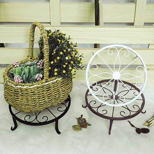 Indoor Outdoor Plants Stand Wrought Iron Sturdy Flower Pot Olde Metal/Iron Art, 9.5 inch, Pack of 3 Colors,Black, White& Brown