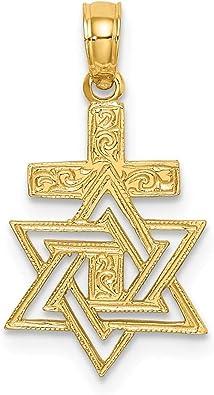 FB Jewels 14K Yellow Gold Star Of David Engraved Jewish Pendant