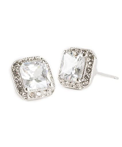 d85c9449f456 Amazon.com  Simple Everyday Glam Square Pave Crystal Faux Diamonds ...