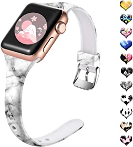 Henva Slim Band Compatible with Apple Watch SE Band 40mm 38mm for Men Women, Soft Silicone Replacement Thin Strap with Fadeless Print Pattern for iWatch 6/5/4/3/2/1, Black-White Marble, S/M