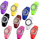 Lancardo Wholesale Lots of 10 Silicone Rubber Gel Jelly Women Men Wrist Watches with Gift Bag