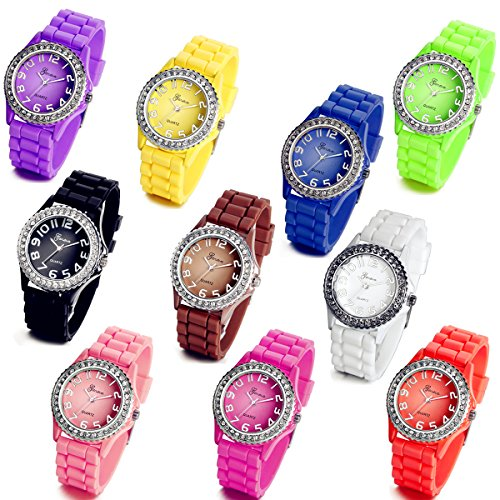 Lancardo Wholesale Lots of 10 Silicone Rubber Gel Jelly Women Wrist Watches with Gift Bag from Lancardo