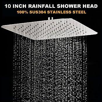 Artbath 10 inch Rainfall Shower Head High Pressure Head Shower 304  Stainless Steel Rain Shower HeadArtbath 12 Inch Large Square Rainfall Shower Head Ultra Thin  . 10 Inch Rain Shower Head. Home Design Ideas