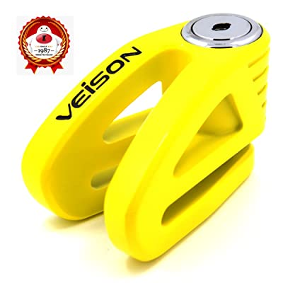 Acekit Veison Bicycle And Motorcycle Brake Disc Lock Heavy Duty Strengthen Body Sawing Resistant With Four Ribs 6mm Harden Lock Pin With Remind Cable-Yellow: Automotive