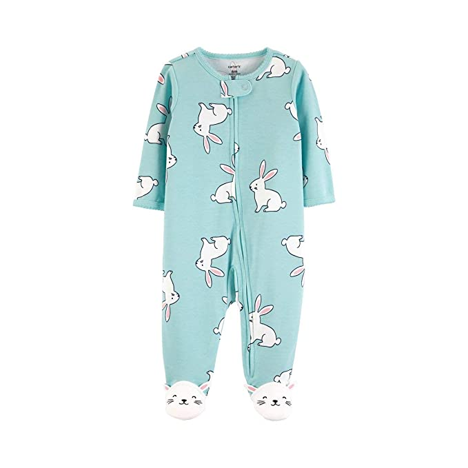 cc49d37de Baby Girl's Blue Bunny Cotton Footed Pajama Sleeper, Sleep 'n Play ...