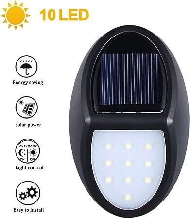 HLJ D Luz Solar Exterior, [2019 Más Nuevo Modelo 10 LED] IP65 Impermeable Farolas, Foco Solar De Pared para Jardín, Garaje, Camino, Patio 1PCS: Amazon.es: Hogar
