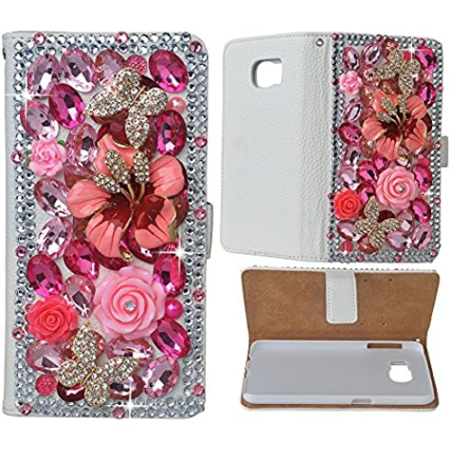 S7 Case, Galaxy S7 Wallet Case EVTECH(tm) 3D Handmade Bling Crystal PU Leather with Pink Shiny Diamonds Elegant Sales