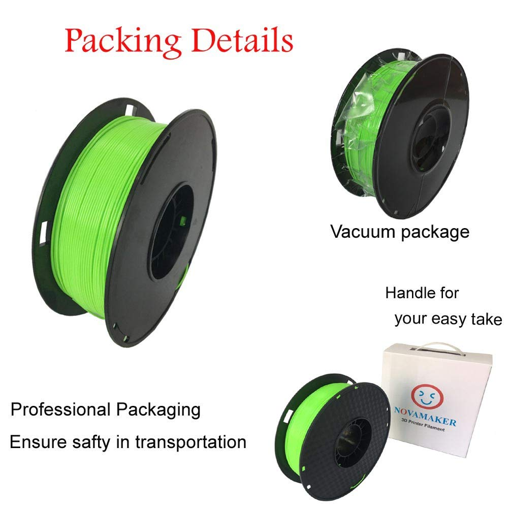 2.2lbs Green 1.75mm PLA Filament PLA 1kg Dimensional Accuracy +//- 0.03mm PLA1.75MM NOVAMAKER 3D Printer Filament