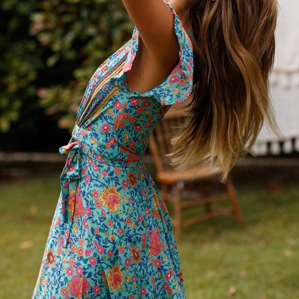 Duevin Il Vestito Lungo da Estate Maxi Vestiti da Stile di Vacanza della Spiaggia della Stampa Floreale del Collo a V della Manica della Breve Manica delle Donne Copre