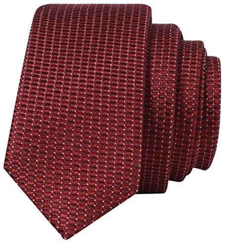 Kingdom Secret 100% Chinese Silk Handmade Red Skinny Neat Tie Men's Necktie by Chinawind (12 Different Designs),Men's Morden herringbone Silk Skinny Neat Tie