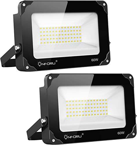 Onforu 2 Pack 60W LED Flood Light, 6000lm Super Bright LED Floodlight, IP65 Waterproof Outdoor Security Lights, 2700K Warm White Flood Light for Yard, Playground, Basketball Court