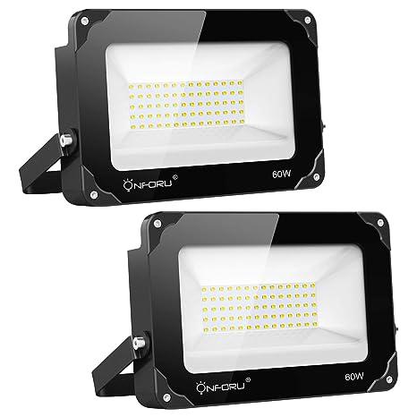 Onforu 60W Foco LED Exterior (2 Pack) 6000LM Super Potente ...