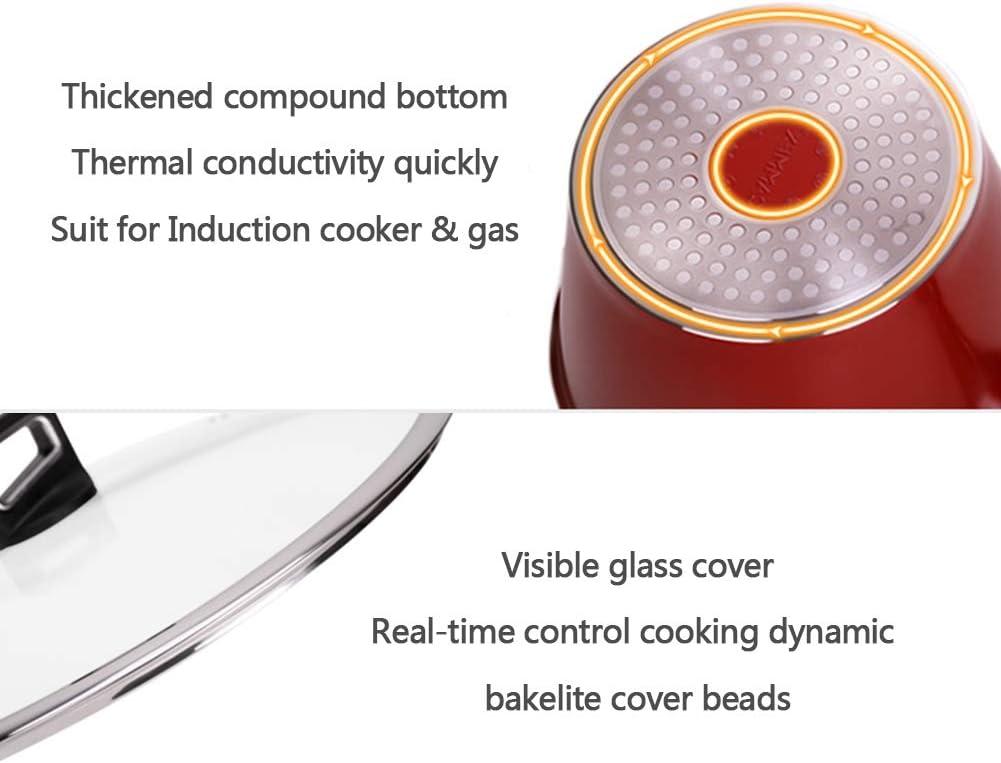 Casserole de lait Induction Aluminium minerai antiadhésif pot à lait pour les nouilles nourriture pour bébé cuisine à la maison cuiseur de lait universel,Red Red