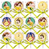 Belle Beauty and the Beast Lollipops Party Favors Supplies Decorations Lollipops with Yellow Ribbon Bows Party Favors, Disney Movie -12 pcs