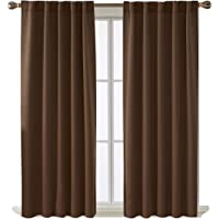 Deconovo Solid Color Back Tab Curtains Thermal Insulated Blackout Curtains Room Darkening Curtains