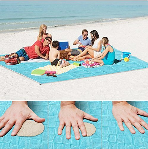 Sand Proof Blanket Sand Free Beach Mat Fast Dry Waterproof Ultra Portable Lightweight Compact Large Beach Towel (Blue, 79''×59'') by Lopie