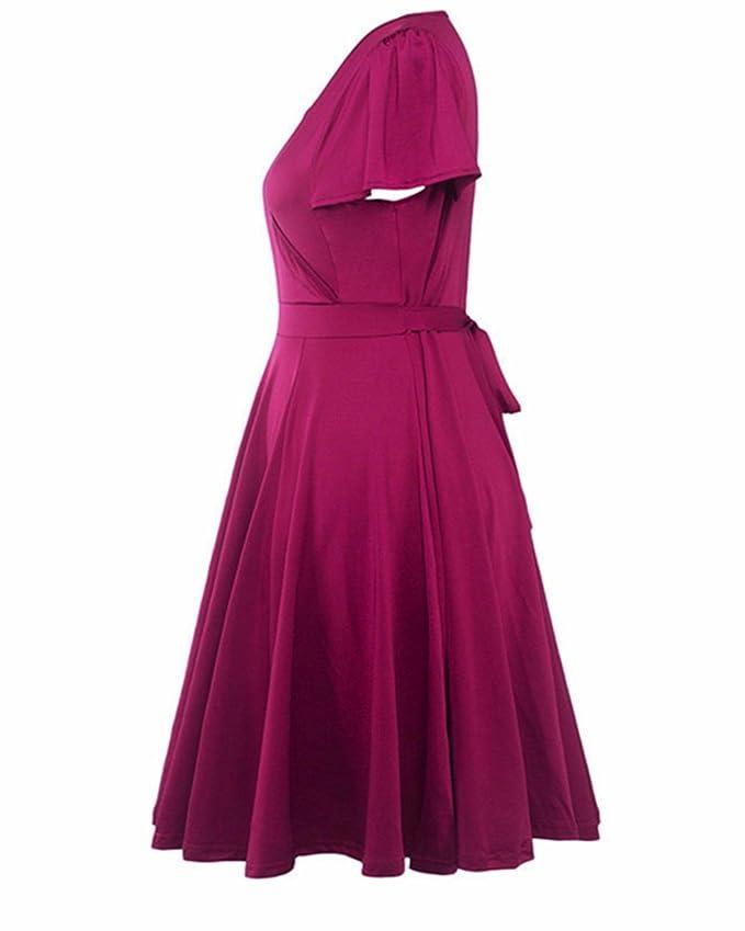5070a828964836 BIUBIU Damen A-Linie 50er Retro Rockabilly Kleid Knielang Abendkleid Große  Größen #2 Lila DE 44: Amazon.de: Bekleidung