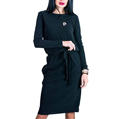 NENGWENWU Women Midi Dress Slim Spring Long Sleeve Loose Knee Length Vestidos Black S