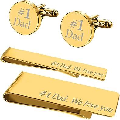 Mens Best Dad Metal Tie Bar Cufflinks Inc