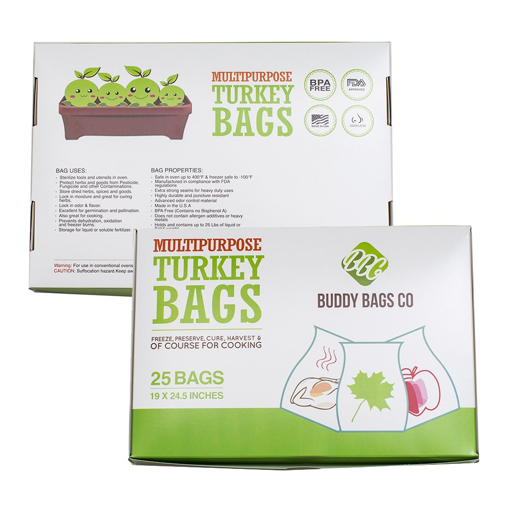 "Buddy Bags Co Multipurpose Nylon Turkey Oven Bags - 19"" x 24.5"" - 25 Pack"
