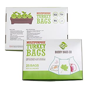 "Buddy Bags Co Multipurpose Nylon Turkey Oven Bags - 19"" x 24.5"" - 25 Pack"